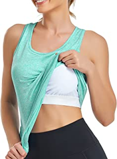 Misyula Style Workout Tank Tops for Women with Built in Bra Pleated Back Racerback