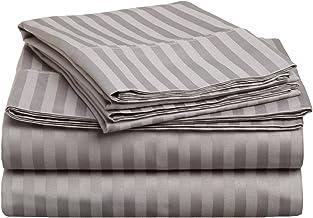 طقم ملاءات سرير 4 قطع من القطن الممشط فائق الجودة بنسبة 100% 400 خيط بكثافة 400 خيط من Superior ، مقلم ، Split King - رمادي