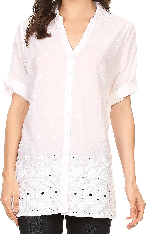 Sakkas Cecilia V-Neck Button Down 3/4 Sleeve Eyelet Shirt