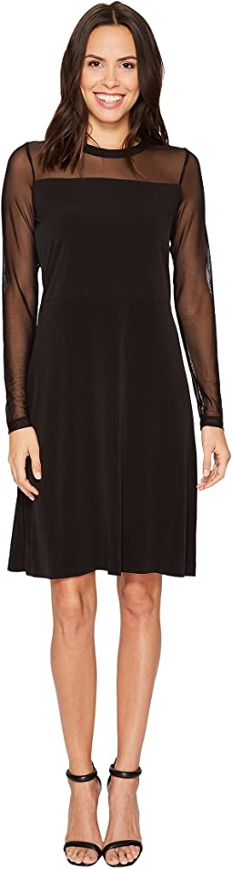 MICHAEL Michael Kors - Mesh Mix Flutter Long Sleeve Dress