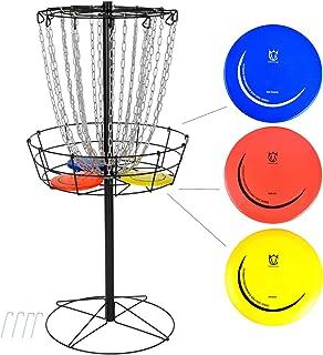 CROWN ME Disc Golf Basket Target Include 3 Discs, 24-Chain Portable Metal Golf Goals Baskets
