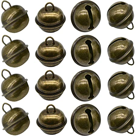 Maydahui 20PCS Vintage Jingle Bell 1 Inches Antique Decorative Tone Copper Bell for Pet Dog Cat Pendants Christmas Tree Crafts Decoration