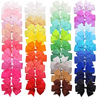 40 Colors Baby Girls Hair Bows Clips 3Inch Grosgrain Ribbon Hair Bow Alligator Hair Clips Pigtail Hair Bows Hair Accessori...