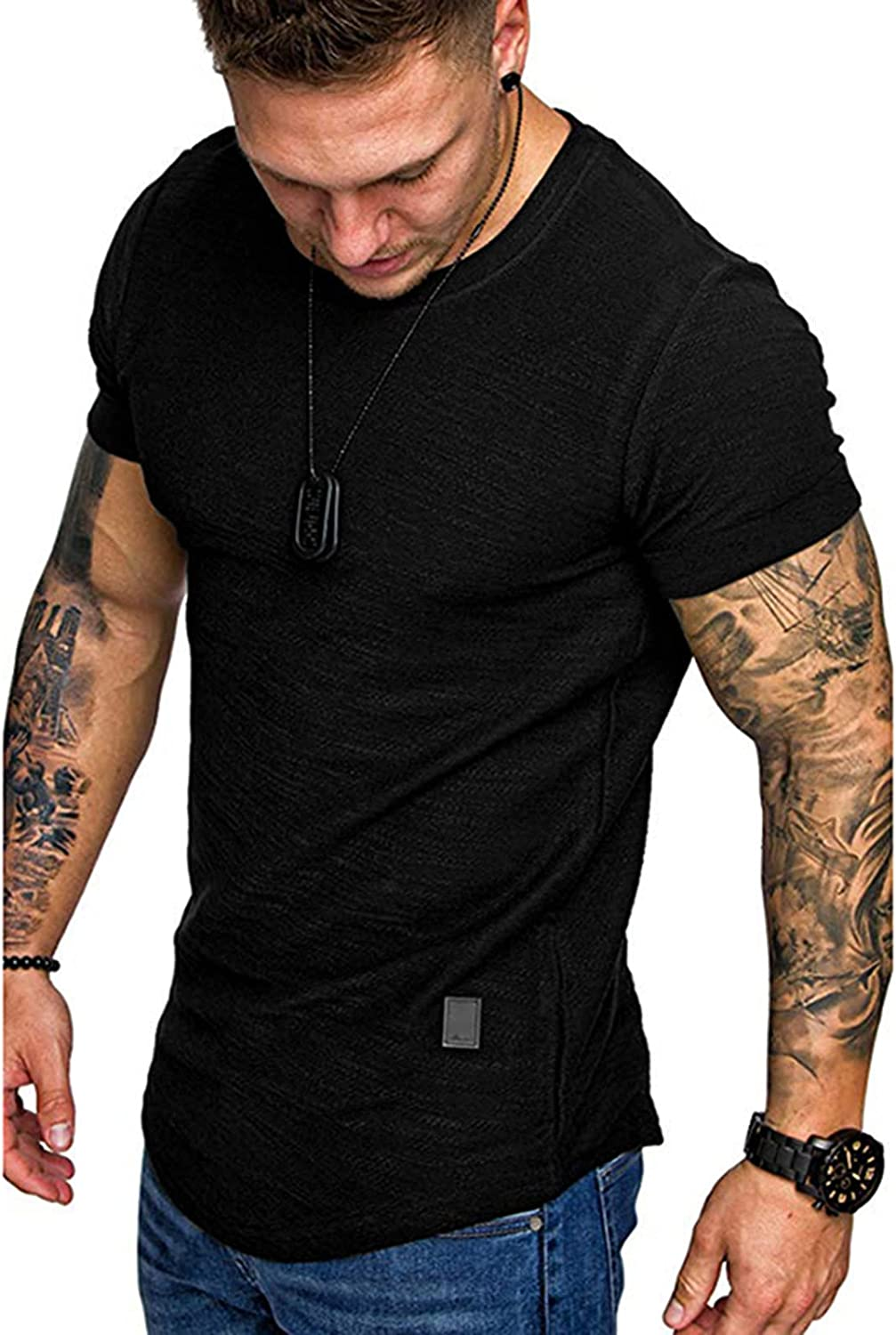 FUNEY Fashion Mens T Shirt Short Sleeve V Neck Muscle Gym Workout Athletic Shirt Classic Jersey Cotton Tee Shirt Top