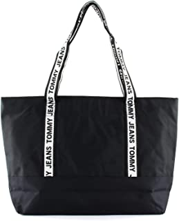 Tommy Jeans Logo Tape Nylon Tote Bag, Black, AW0AW08087