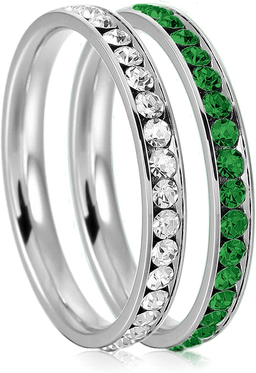 3mm Stainless Steel Eternity Clear Emerald Color Omaha Mall Max 49% OFF Crystal Stack