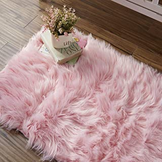 OJIA Deluxe Soft Fuzzy Fur Rugs Faux Sheepskin Shaggy Area Rugs Fluffy Modern Kids Carpet for Living Room Bedroom Sofa Bedside Decor(2ft x 3ft, Pink)