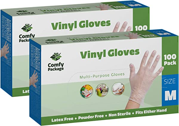 Clear Powder Free Vinyl Disposable Plastic Gloves 200 Pack Medium
