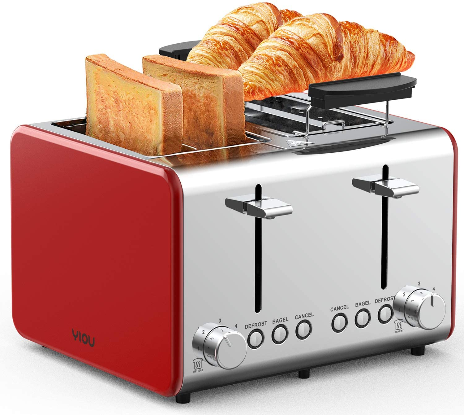 YIOU Toaster 4 Slice Stainless Steel 4 Slice Toaster with Warming Rack 1.5 Inch Extra Wide Slots 6 Browning Setting Bagel Toaster Reheat Defrost Cancel Function Removable Crumb Tray Red T4S-Red