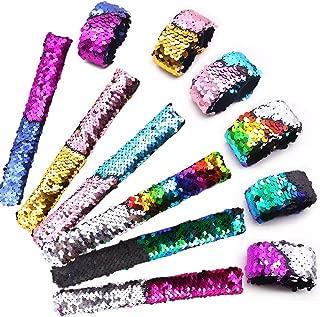 24pcs Slap Bracelet,Kids Squin Bracelet Mermaid Bracelet Flip Wristband Bracelet Kids Birthday Party Favors Supplies