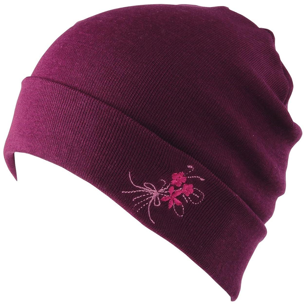 楽しいに関して理論的なめらかシルクのニット帽 パープル