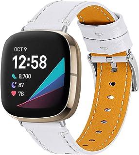 Jennyfly Bracelet en cuir compatible avec Fitbit Versa 3/Fitbit Sense,Bracelet de sport élégant en cuir souple réglable 14...