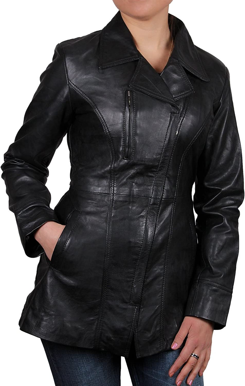 Brandslock Vintage Womens Long Real Leather Biker Jacket Black