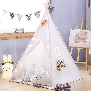 TreeBud Teepee tält för barn med matta, klassiskt indiskt lektält för barn, vikbart lekhus för inomhus- eller utomhuslek, ...