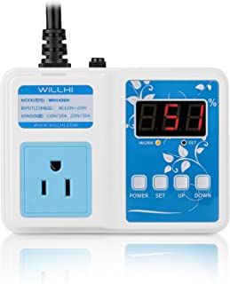 WILLHI WH1436H 110V Digital Air Humidity Controller with LCD Display High Accuracy Humidity Sensor & 118'' Power Cable, Humidification Mode & Dehumidification Mode