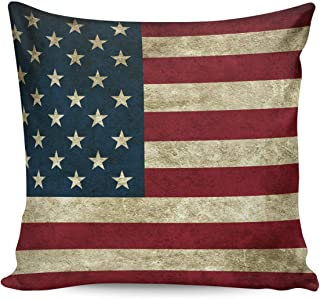 Square Throw Pillow Case Cotton Linen Pillow Cover Decorative The Star-Spangled Banner Cushion Covers for Home Couch/Bed/Sofa/Car/Cafe/Movie Theater Two Sides 24x24in