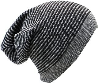 an Unisex Striped Knit Slouchy Beanie Hat Lightweight Soft Fashion Cap