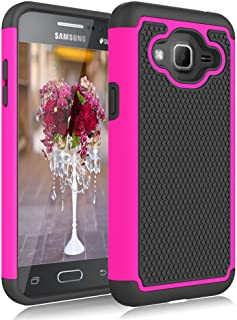 Galaxy Sky Case,Galaxy J3 Case,Galaxy Express Prime Case,Galaxy Amp Prime Case,J3V Case, Jeylly Shockproof Dual Layer Armor Defender Scratch Absorbing Hybrid Rubber Plastic Phone Case Cover - Rose