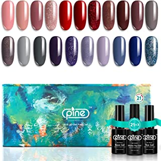 Pine 21 Colors Gel Nail Polish Set with Base No Wipe Glossy Top Matte Top Coat 24 Pcs Soak Off UV LED Gel Nude Red Gray Pu...