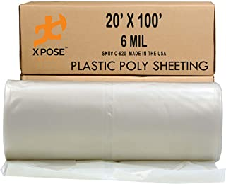 Clear Poly Sheeting - 20x100 Feet – Heavy Duty, 6 Mil Thick Plastic Tarp – Waterproof Vapor and Dust Protective Equipment Cover - Agricultural, Construction and Industrial Use - by Xpose Safety