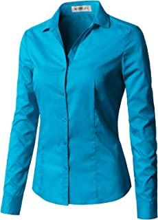 CLOVERY Women's Long Sleeve Slim Fit Button Down Shirt