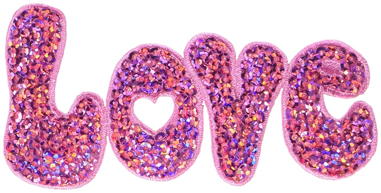 Wrights Love Pink Sequin Iron-On Applique