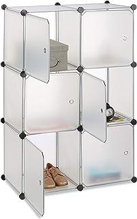 Relaxdays Étagère cubes penderie armoire rangement 6 casiers plastique modulable DIY HxlxP: 105x70x35 cm, transparent