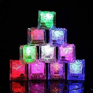 Ice bucket 12 قطع diy ضوء آيس كيوب/ملون لمس مستشعر ليلة ضوء/led فلاش مكعبات الثلج (Color : Blue)