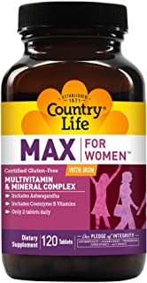 Country Life Max for Women with Iron - 120 Tablets - Multivitamin & Mineral Complex - Coenzyme B Vitamins - 2 Tablets Daily