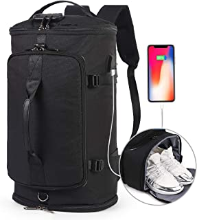 Travel Duffel Backpack,Outdoor Bag with Shoe Compartment,Anti Theft Waterproof Weekender Overnight Laptop Backpack w/USB Charging Port College Bookbag Hiking Camping Rucksack for Men and Women