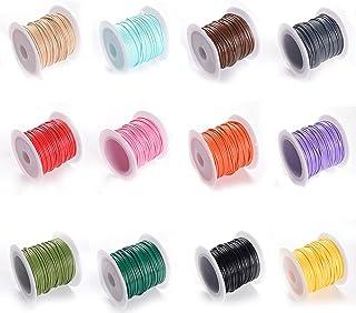 Dilightnews 12 Rolls Multicolores Cordons de Polyester Ciré, Corde Cirée Fil de Polyester, Rouleaux de Cordon Ciré pour Br...