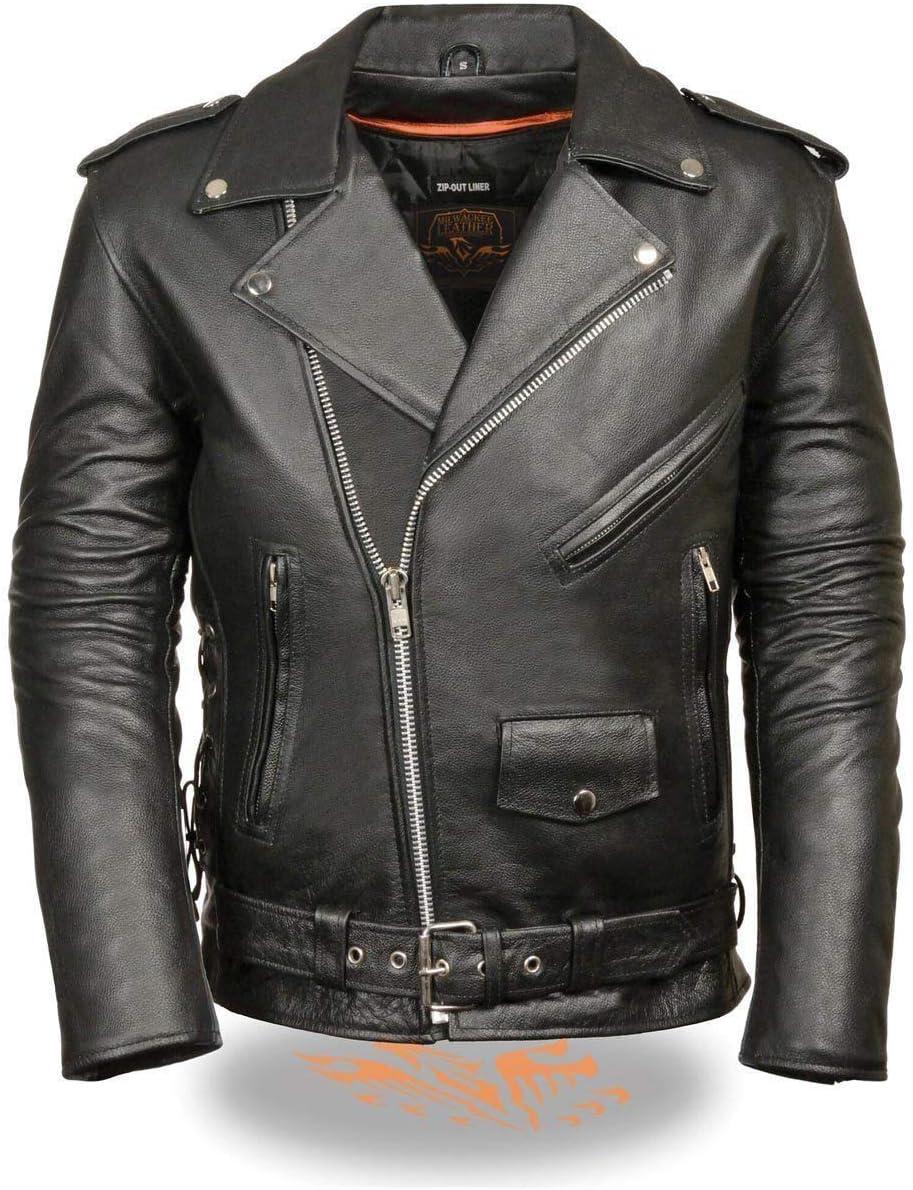 Men Vintage HD Vintage Motorcycle Moto Biker Cow Hide Leather Jacket All Sizes