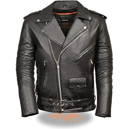 Naked Leather Motorcycle Police Style Jacket with Side