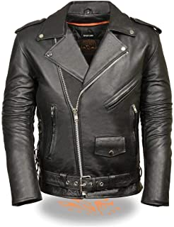 Milwaukee Leather SH1011 Men's Classic Side Lace Police Style Motorcycle Leather Jacket - Medium