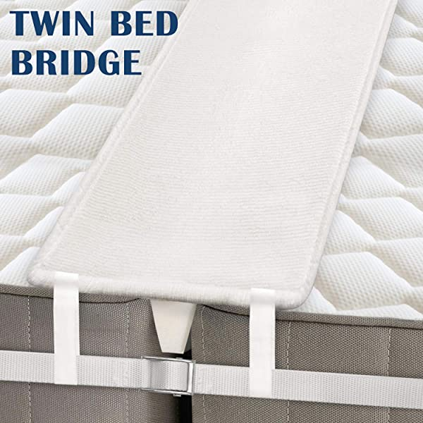 MDrebel Bed Bridge Twin To King Converter Kit Memory Foam Filler Pad And Connector Strap For Guests Stayovers Family Gatherings