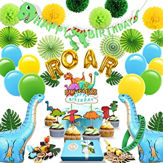 Dinosaur Party Supplies - 97 Boys Birthday Party Decoration Pack, Includes a Banner,6 Paper Fan Flowers,