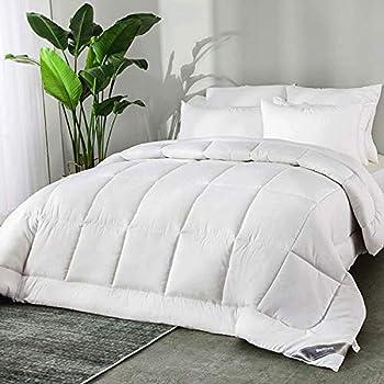 Bedsure Edredón Nórdico Relleno Cama 150 Verano - 240x220 cm Blanco, 300 gr/m² de Fibra Suave y Antiácaro, Reversible y Moderno