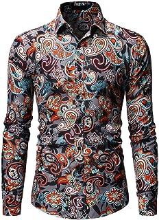 FZYQY Camisa para Hombre Casual Formales Clásico con Botones Camisas de Vestir Cuello de Manga Larga Traje