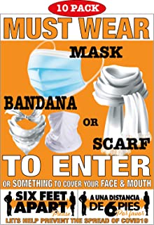 """Social Distancing Must WEAR FACE MASK Posters 6ft Apart Grocery Stores Hospital Restaurants Offices 10 Pack 9"""" x 12"""""""