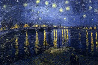 AED200-8K Hand Painted by College Teachers - 42 Famous Landscape Paintings - Starry Night Over the Rhon Vincent van Gogh Landscape bridge LEWE5 - Art Oil Painting on Canvas -Size03