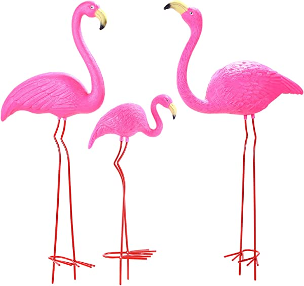 Ohuhu Family Flamingo Yard Ornaments Set Of 3 32 31 19 Bright Pink Flamingos Family With Metal Feet Stakes For Garden Decoration