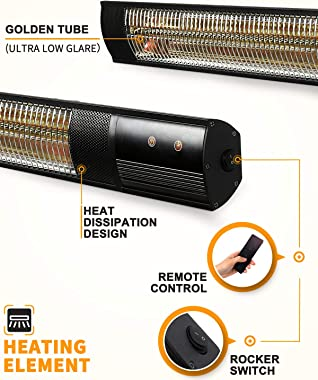 Star Patio Electric Patio Heater, Outdoor Wall Mounted Heater, Infrared Heater with Remote, Instant Heating1500W, IP55 Waterp