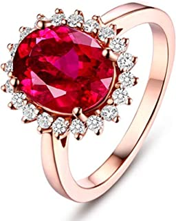 18K Gold Ring Sunflower Shape Women Solitaire Ring Engagement Ring with Red Tourmaline