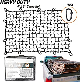 EZYKOO Truck Nets, 4' X 6' Heavy Duty Truck Bed Net, Cargo Net,Max Stretches to 8' X 11' with 14 pcs Upgrade Durable Carabiners Hooks,4X4 Small Mesh fit Universal Truck Bed (4'x6')