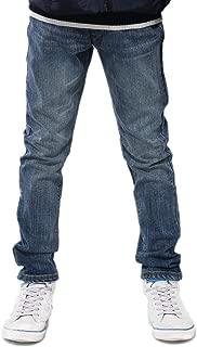 Boys Kids Elastic Waist Husky Stretch Denim Jeans Dark LLB6A02