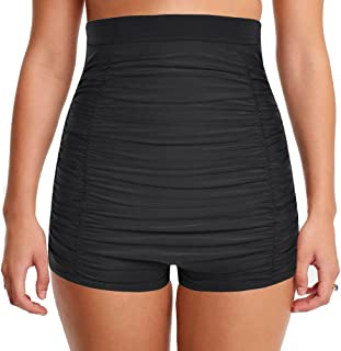Mycoco Women's Super High Waist Swim Shorts Shirred Tummy Control Tankini Bottom Swimwear Brief
