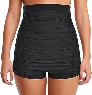 Women's Super High Waist Swim Shorts Shirred Tummy Control Tankini Bottom Swimwear Brief