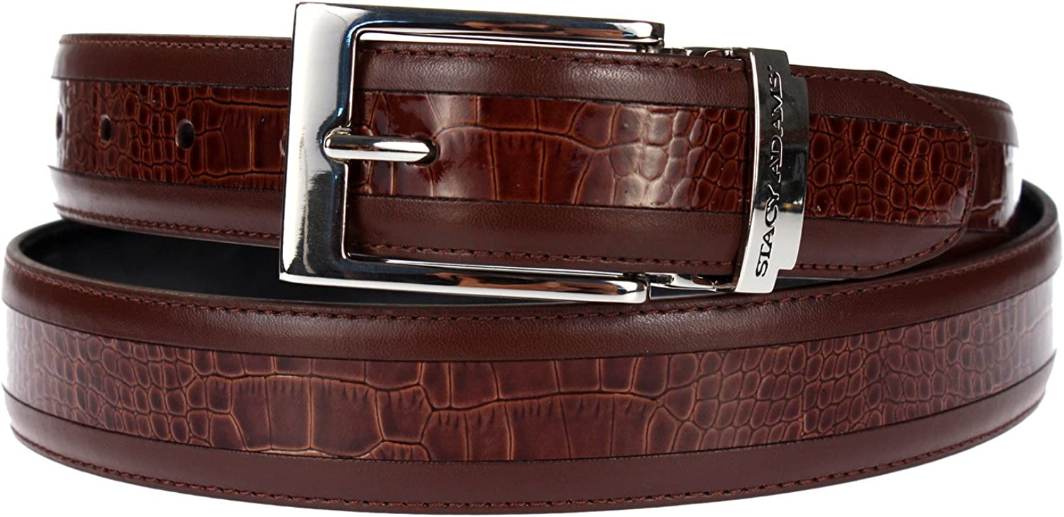 Stacy Adams 6-203 Smooth Grain Leather with Croco Embossed Center Detail Mens Adjustable Belt, Polished Nickel Buckle
