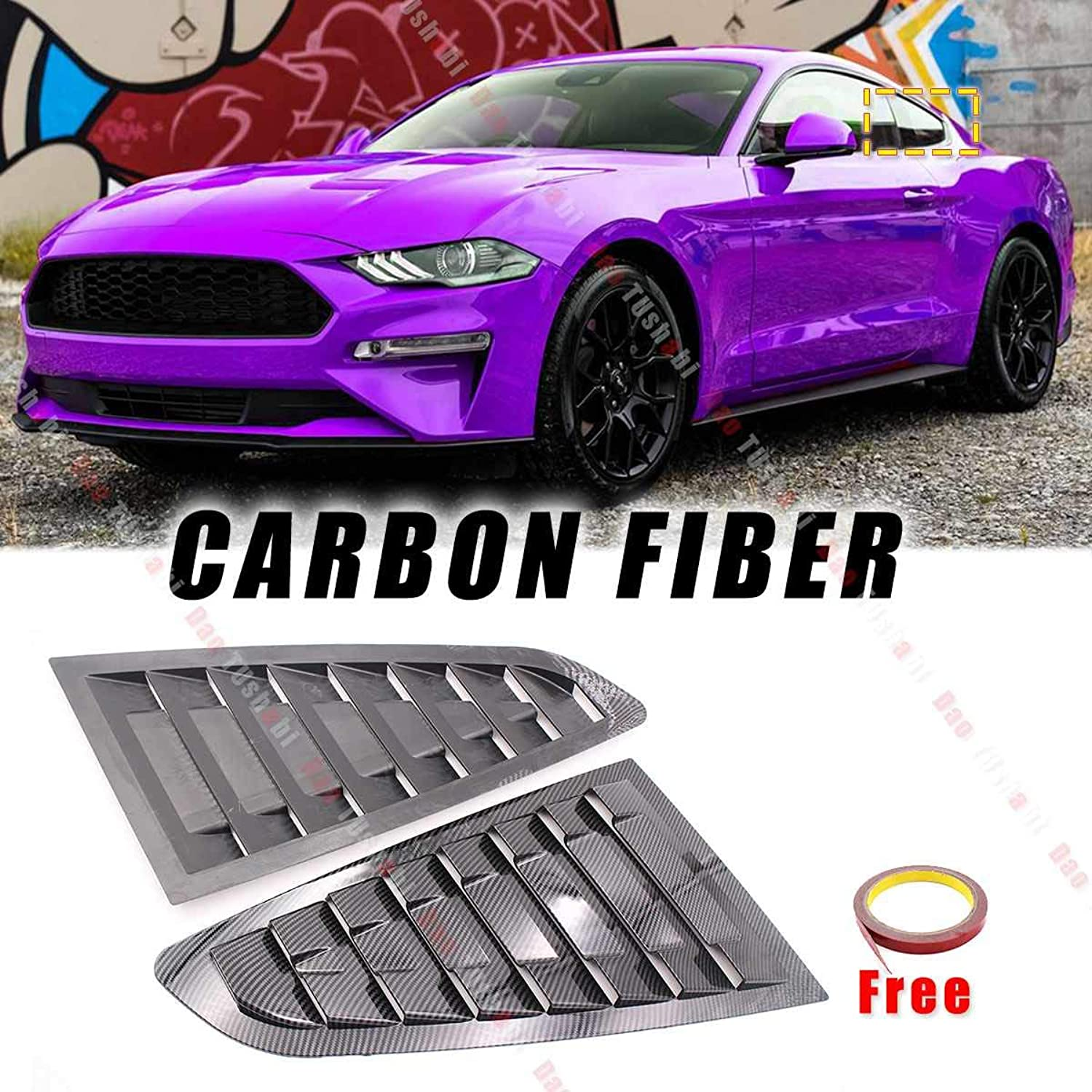 1 Pair 2019 New Carbon Fiber Side Vent Window Scoop Louver Cover Trim for Ford for Mustang 20152018