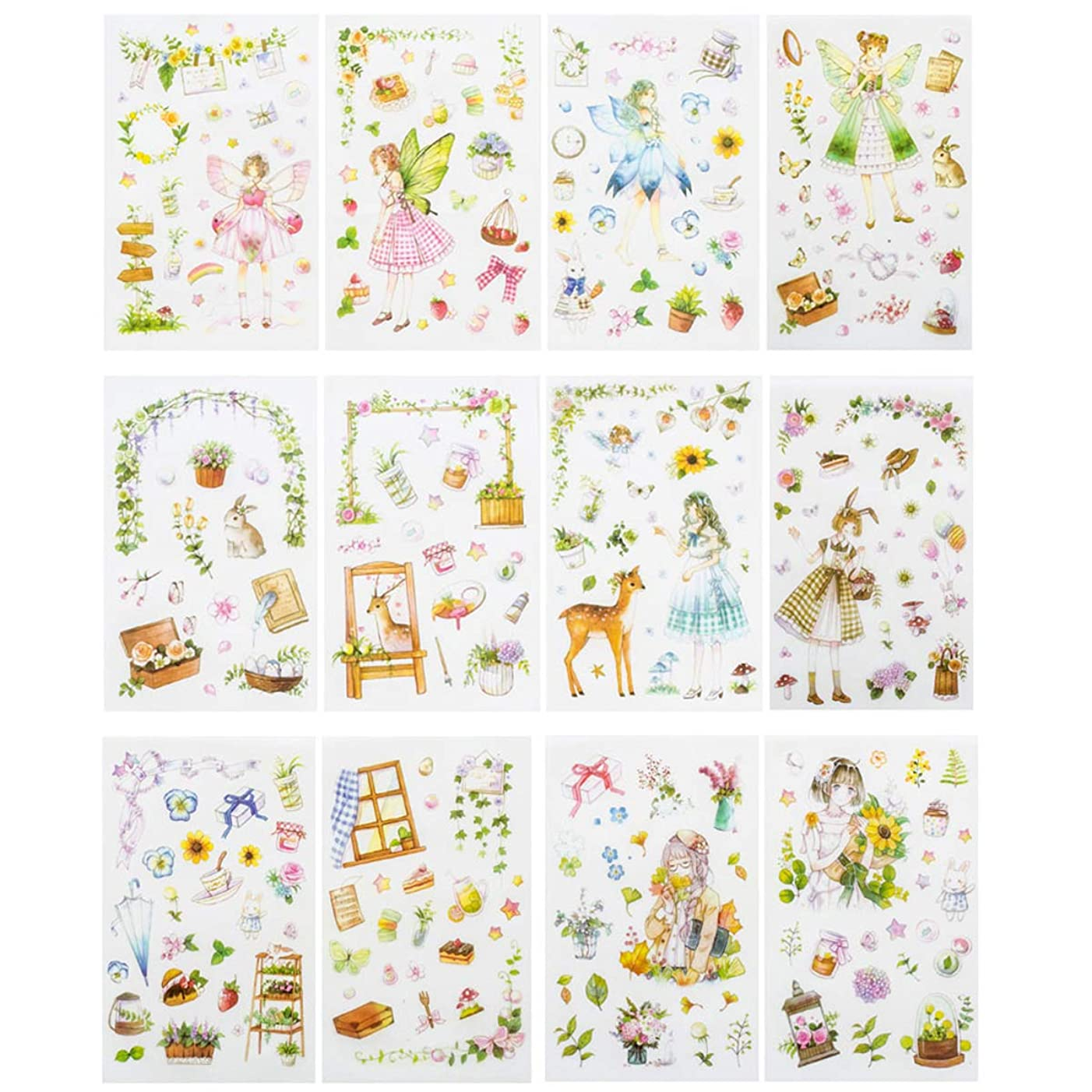 Kawaii Gardening Fairy Girl Floral Sticker Set Cute Animal Rabbit Deer Stationery Stickers Diary Book DIY Craft Arts Scrapbooking Travel Journal Planner Decorative Label Office Supplies for Kids